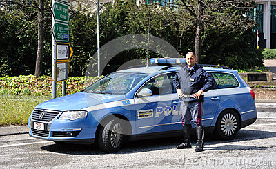 Italian police car and policeman Editorial Photo