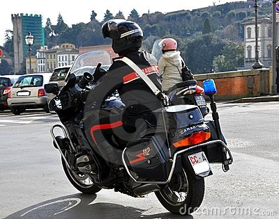 Italian policeman on a motorcycle in Italy Editorial Image