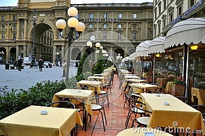 Italian restaurant in Florence , Italy  Editorial Stock Photo
