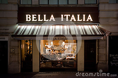 Italian restaurant in London Editorial Stock Image