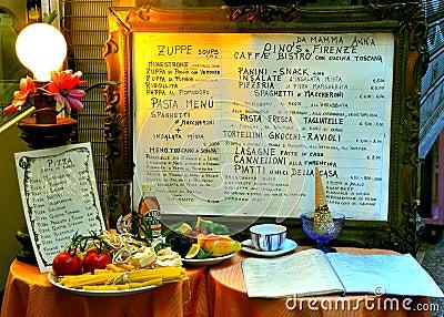 Italian restaurant menu Editorial Image