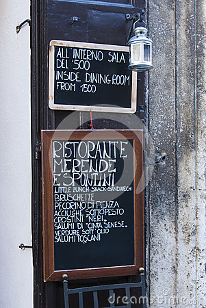 Italian restaurant menu board