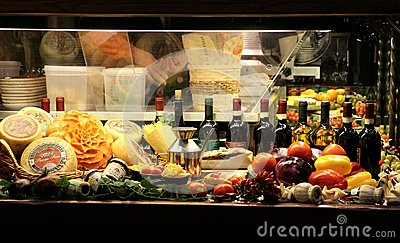 Italian restaurant window in Florence, Italy Editorial Photo