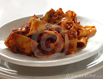 Italian ribbon pasta with meat sauce