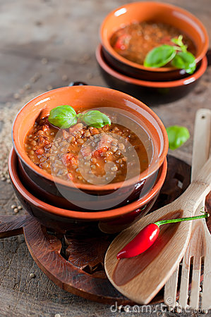 Italian rustic vegetarian Lentil soup.
