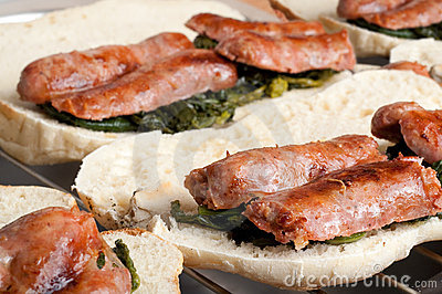 Italian Sausages with fried Broccoli and Sandwich