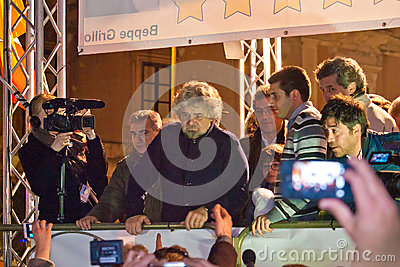 The italian showman and politician Beppe Grillo during his elect Editorial Photo