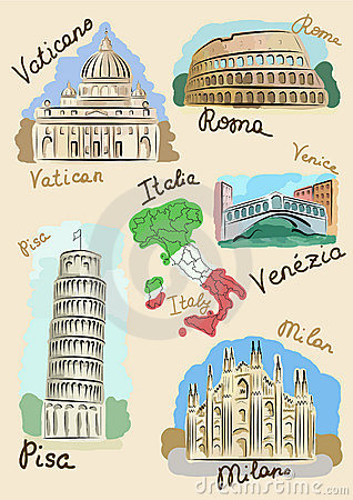 Italian sights in watercolours
