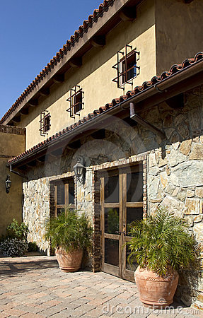 Italian stone villa home and patio