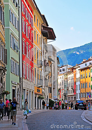 Italian street in Trento Editorial Stock Photo