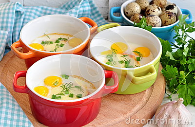 Italian Style, Eggs Baked With Mozzarella And Green Onion, Stock Photo ...