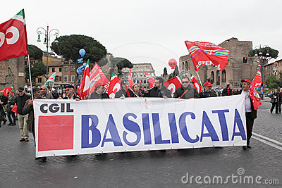 Italian trade unions demonstrate in Rome Editorial Photo