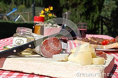 Italian tuscany food in a farm house hotel