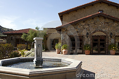 Italian villa fountain and courtyard plaza