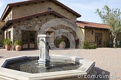 Italian villa fountain and courtyard plaza
