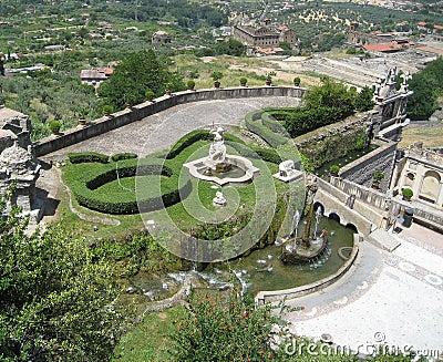 Italian villa gardens panoramic