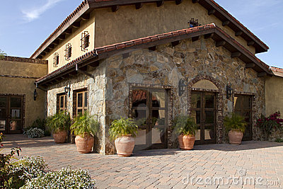 Royalty Free Stock Photography: Italian villa home and courtyard plaza