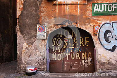 Italian wall with graffiti