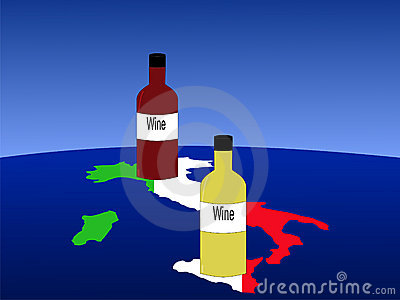 Italian wine with map