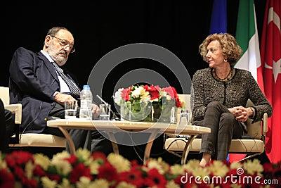Italian writer Umberto Eco in Istanbul,Turkey Editorial Photography