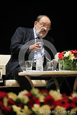 Italian writer Umberto Eco in Istanbul,Turkey Editorial Photo