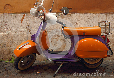 Italian yellow and purple scooter