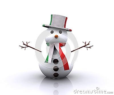Italiano agradable del muñeco de nieve - 3D