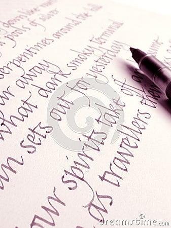 Italics handwriting & calligraphy ink pen on paper