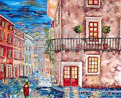 Italien city evening lights painting.