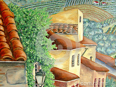Italien village houses and roofs oil painting.