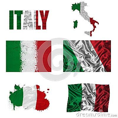 Italienische Markierungsfahnencollage