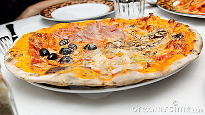 Italin pizza with various toppings