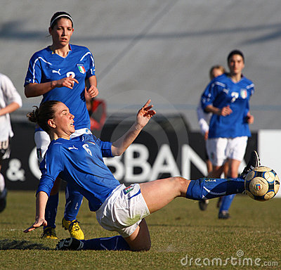 Italy - Austria, female soccer U19; friendly match Editorial Stock Image