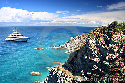 Italy, Azure coast with boat in Calabria,
