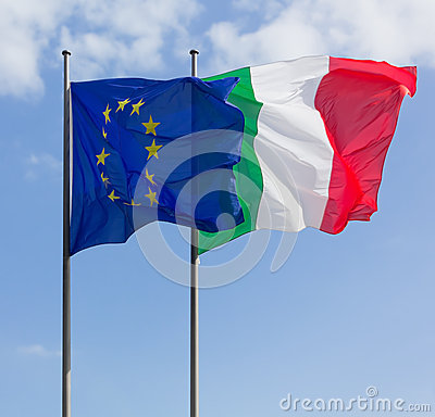 Italy and Europe Flags