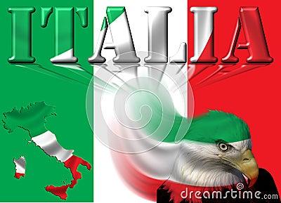 Italy Flag / Map & Eagle