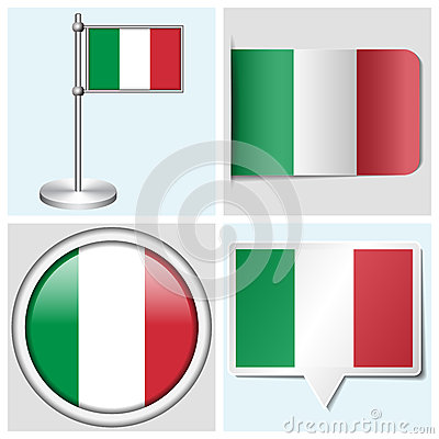 Italy flag - set of sticker, button, label