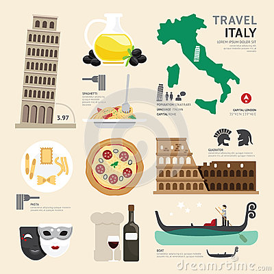 Free Italy Flat Icons Design Travel Concept. Vector Royalty Free Stock Photography - 44629607