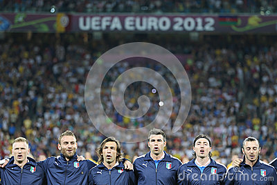 Italy football team players sing the national hymn Editorial Photography