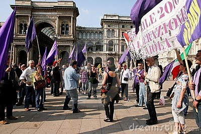 Italy, Liberation Day Violet party protest Editorial Stock Photo