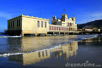 Italy, Liberty building on beach. Palemo