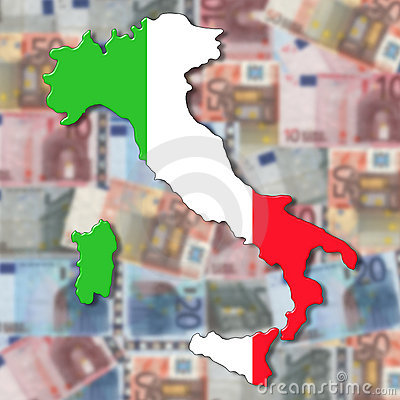 Italy Map flag on blurred euro