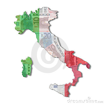 Italy Map flag with euros