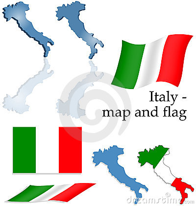 Italy - map and flag set