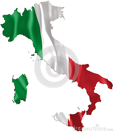 Free Italy Map With Waving Flag Stock Photo - 43055380