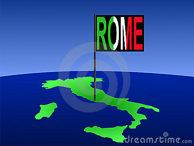 Italy with Rome flag