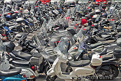 Italy, scooter and motorbike parking Editorial Photography