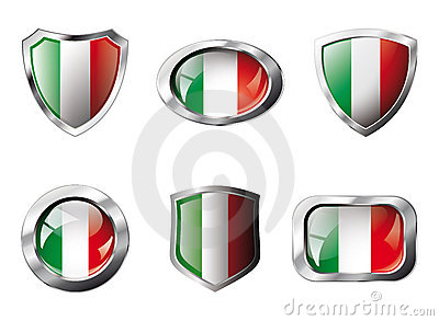Italy set shiny buttons and shields of flag