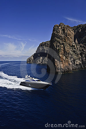 Italy, Sicily, aerial view of luxury yacht