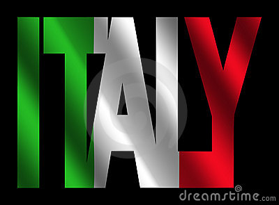 Italy text with Italian flag